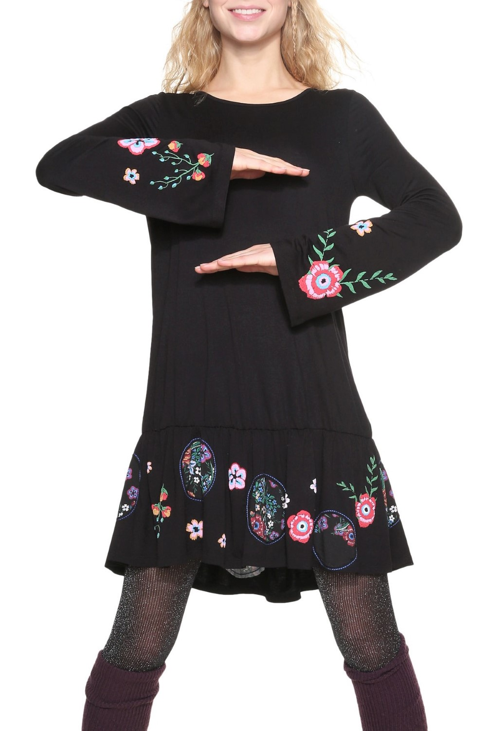 Desigual Black Surat Dress with Embroidery - Women s Dress ... 16b499cc065