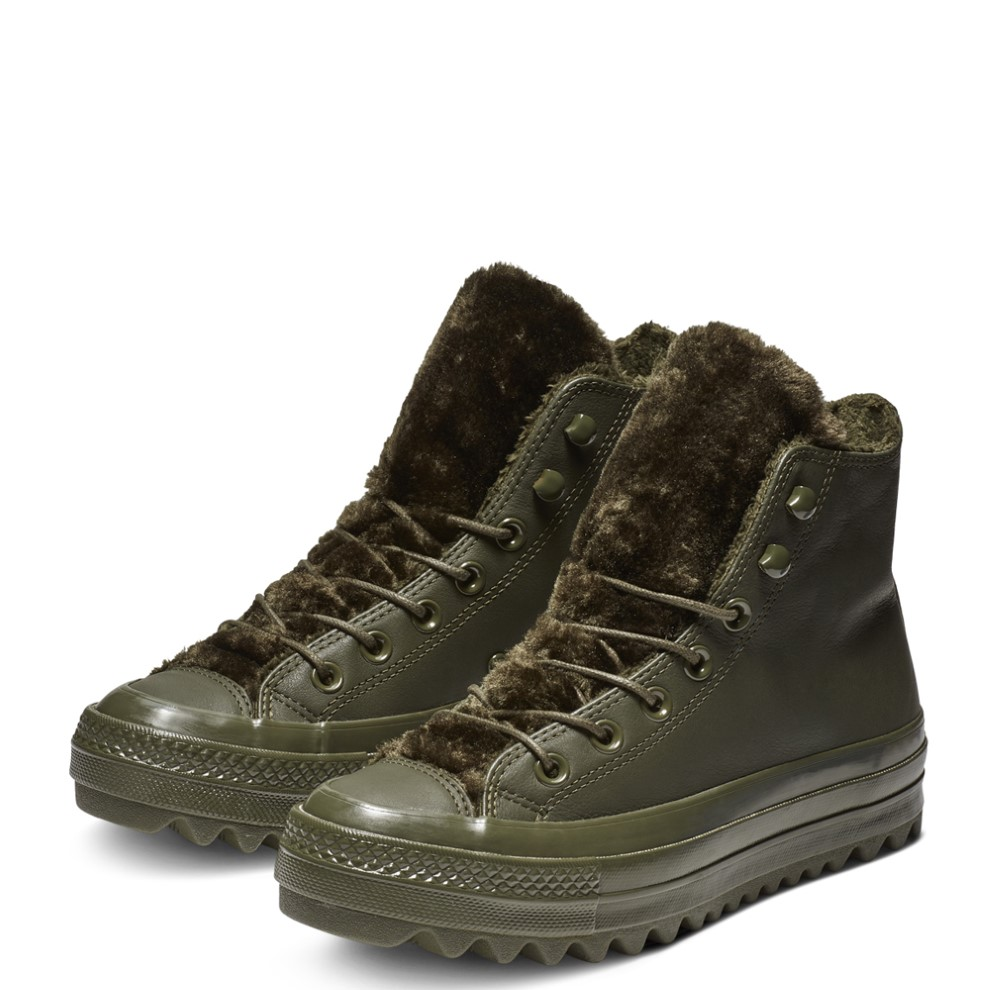 2854e1a6021d08 Converse khaki leather ankle boots Chuck Taylor All Star lifts Ripple Hi  Utility Green