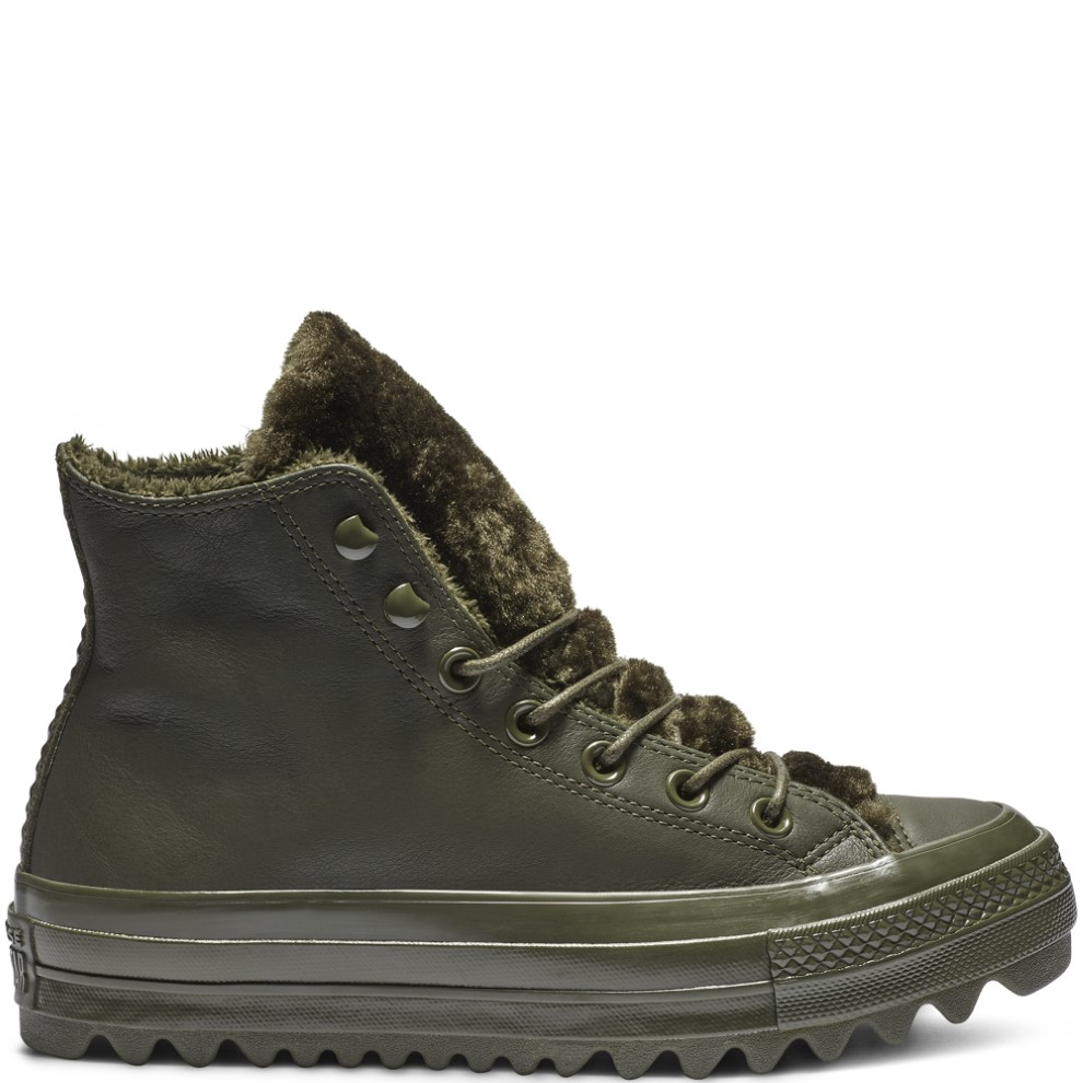 6126cb1c360551 Converse khaki leather ankle boots Chuck Taylor All Star lifts Ripple Hi  Utility Green