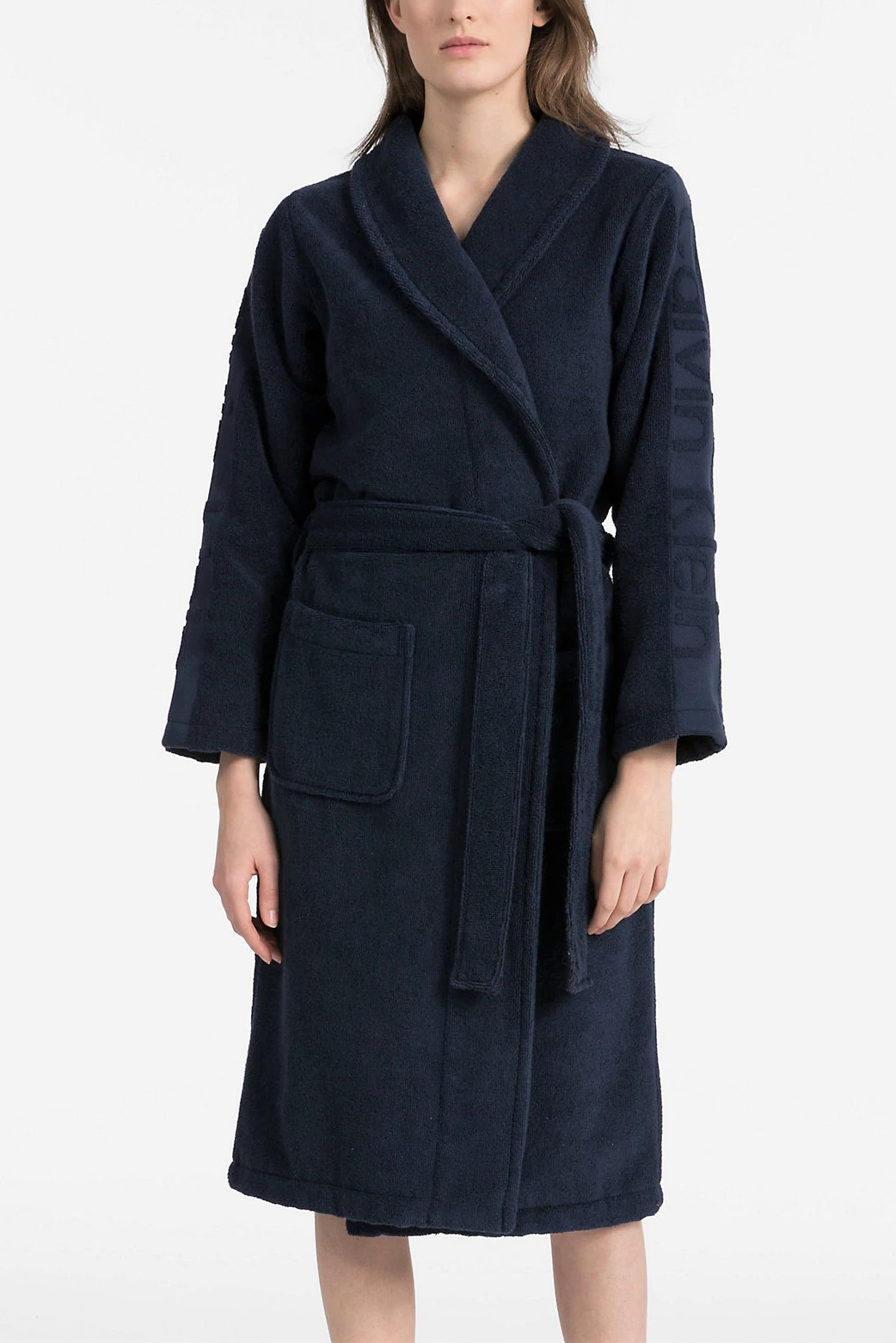 Calvin Klein Dark Blue Uni Bathrobe Robe