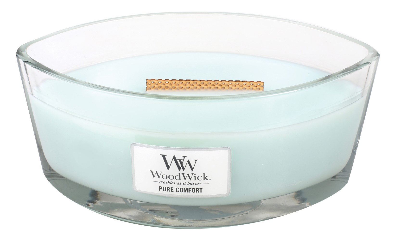 WoodWick blue fragrant candle Pure Comfort ship