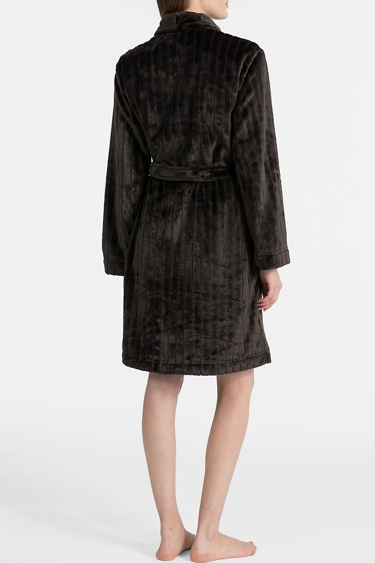Calvin Klein Black Las Bathrobe Robe