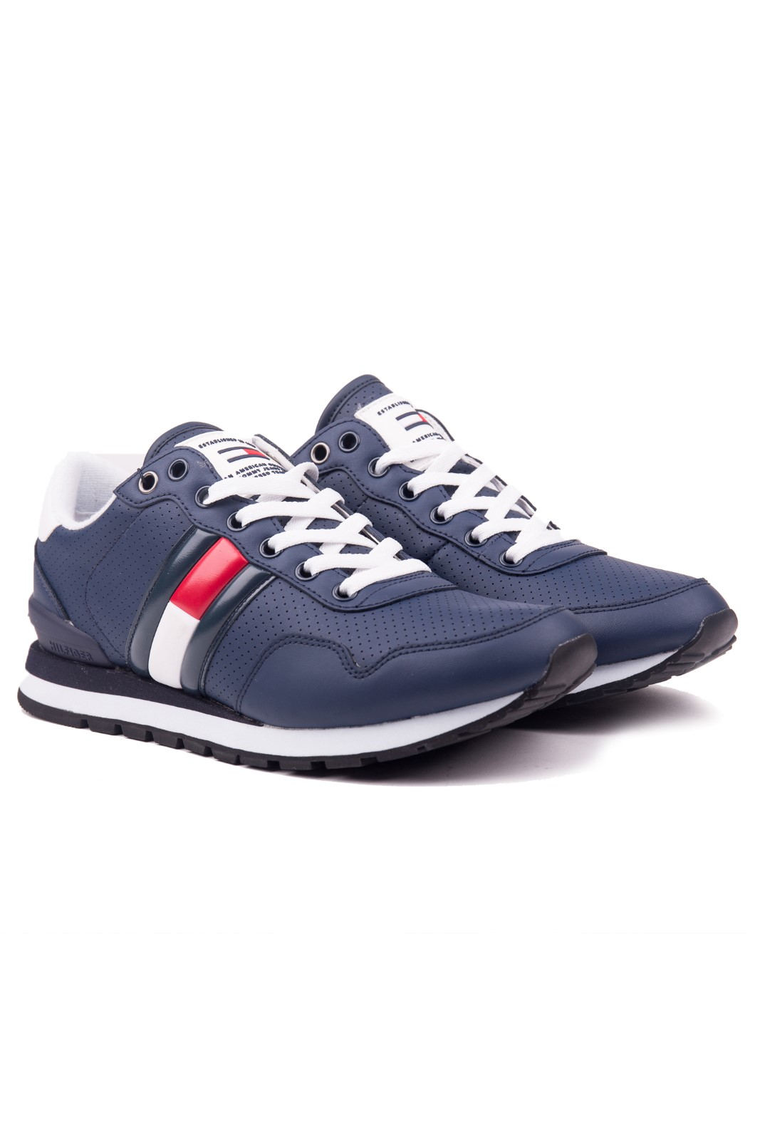 ed84fd087124 Tommy Hilfiger blue men´s leather sneakers Lifestyle Tommy Jeans Sneaker Ink