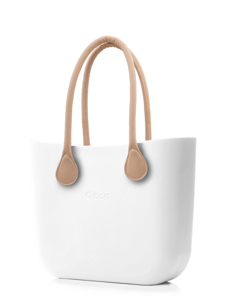 O bag white handbag Bianco with long leatherette straps natural
