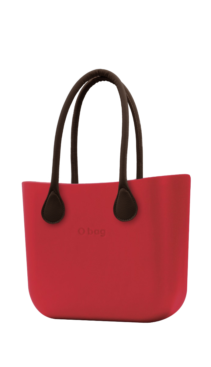 O bag pink handbag Ciliegia with long brown leatherette straps