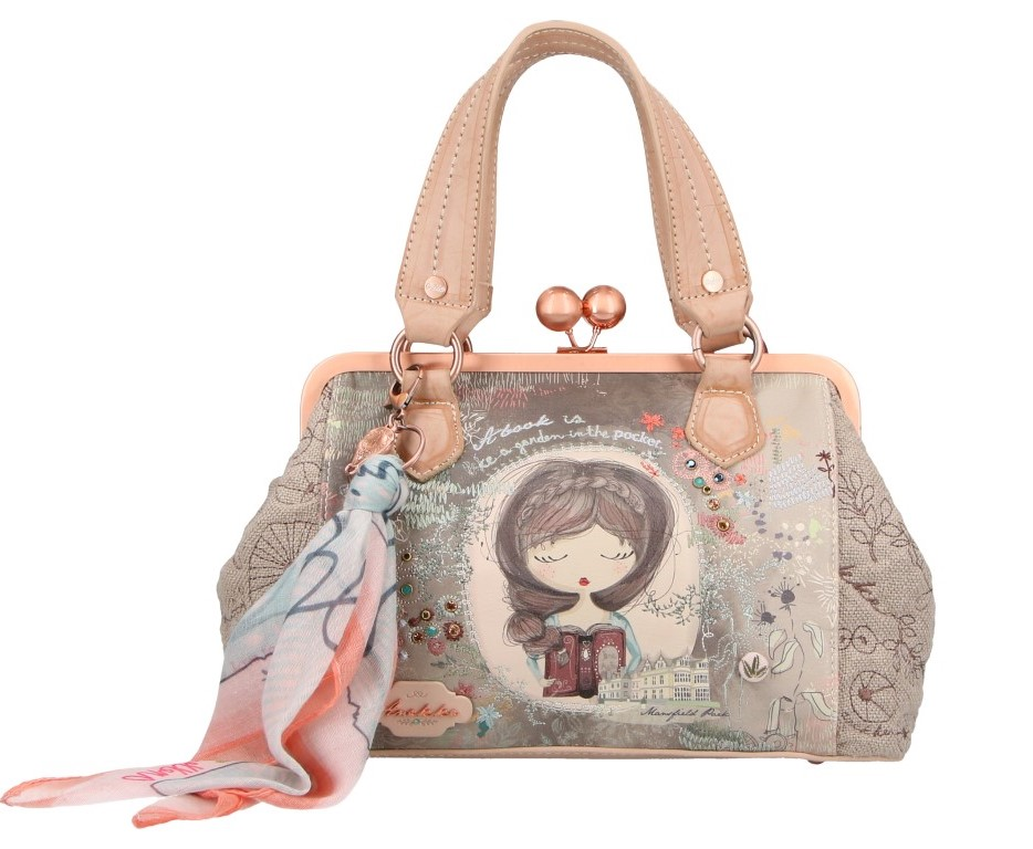 Anekke Beige Handbag Jane with a Vintage Frame