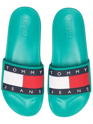 383371eb Tommy Hilfiger turquoise men´s slippers Tommy Jeans Flag Pool Slide Dynasty  Green