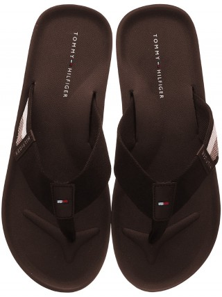 cfe9f8832 Tommy Hilfiger brown men´s flip-flops Corporate Stripe Beach Sandal Coffee  Bean