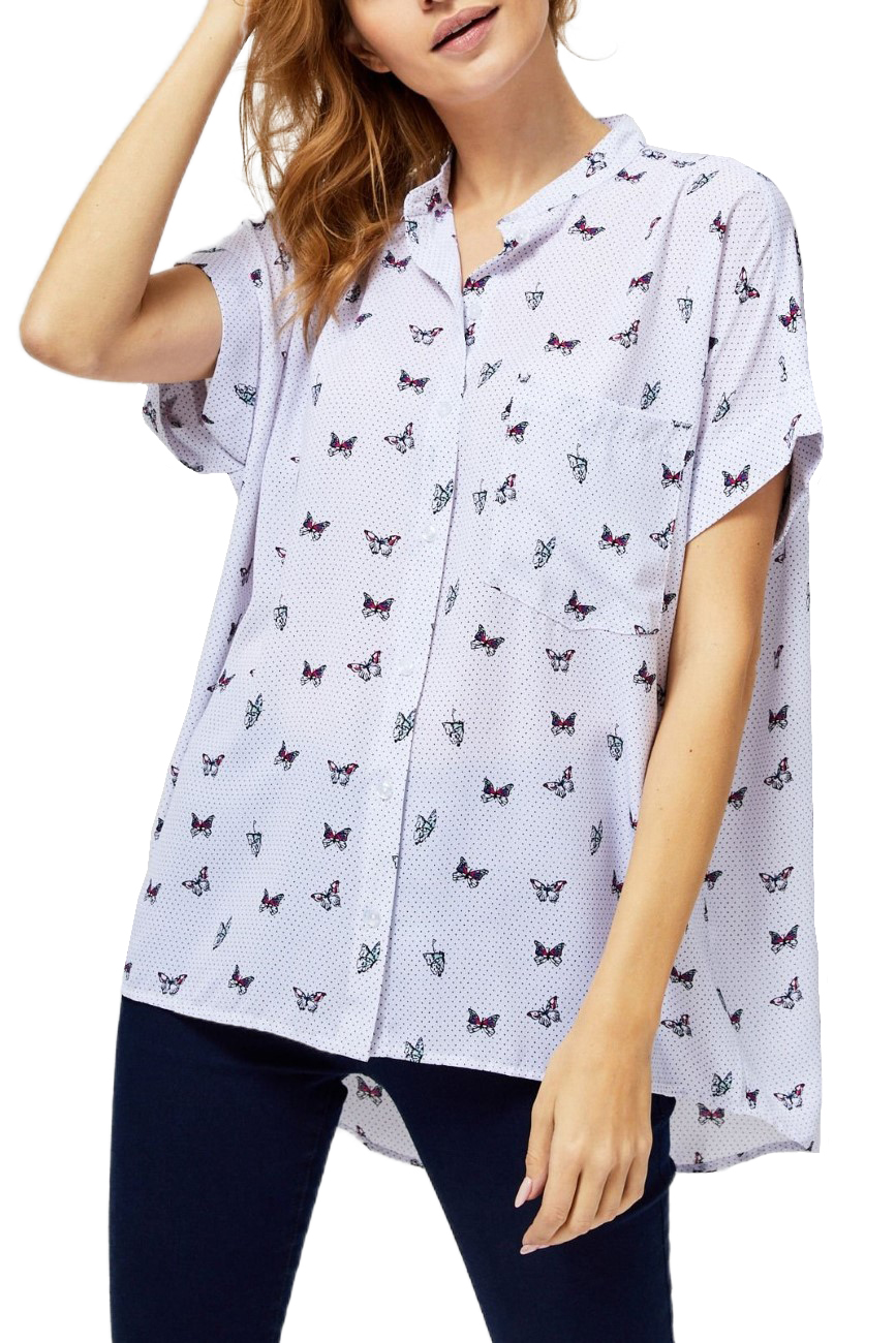 Moodo White Shirt with Butterflies