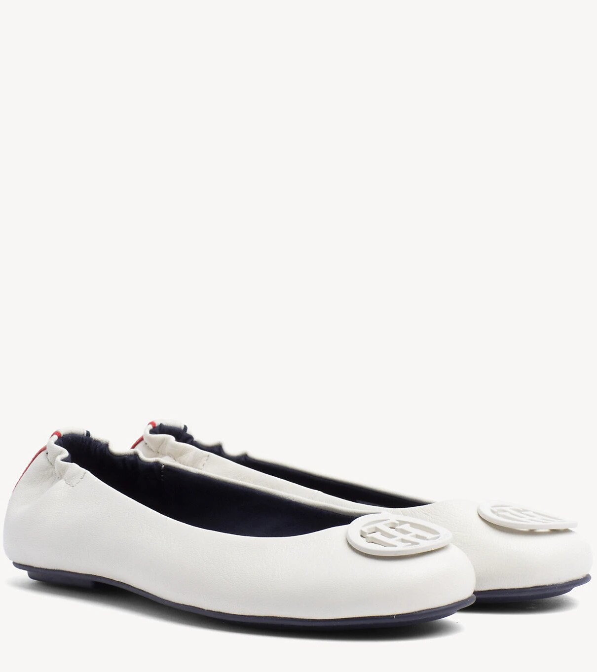 1281d6c1f Tommy Hilfiger cream   cream leather flats Flexible Leather Ballerina  Whisper White