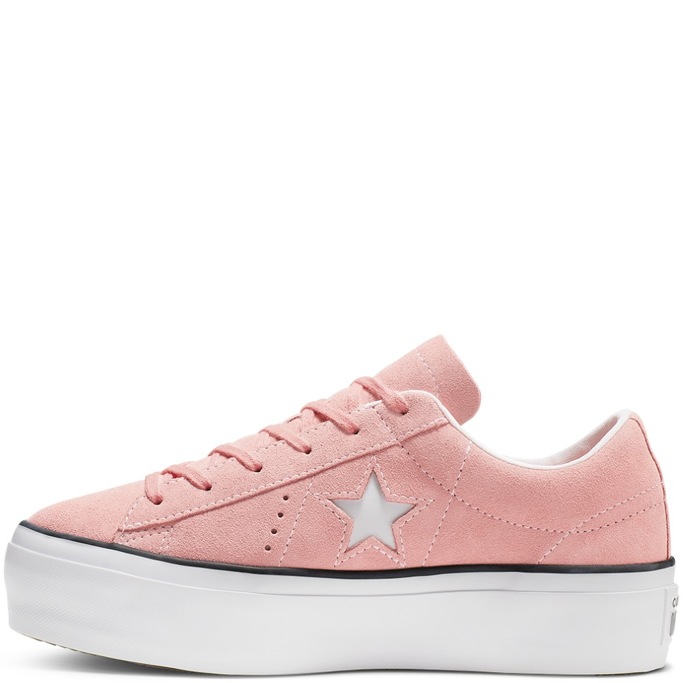 Converse powdery leather sneakers with platform One Star Platform Ox Bleached Coral