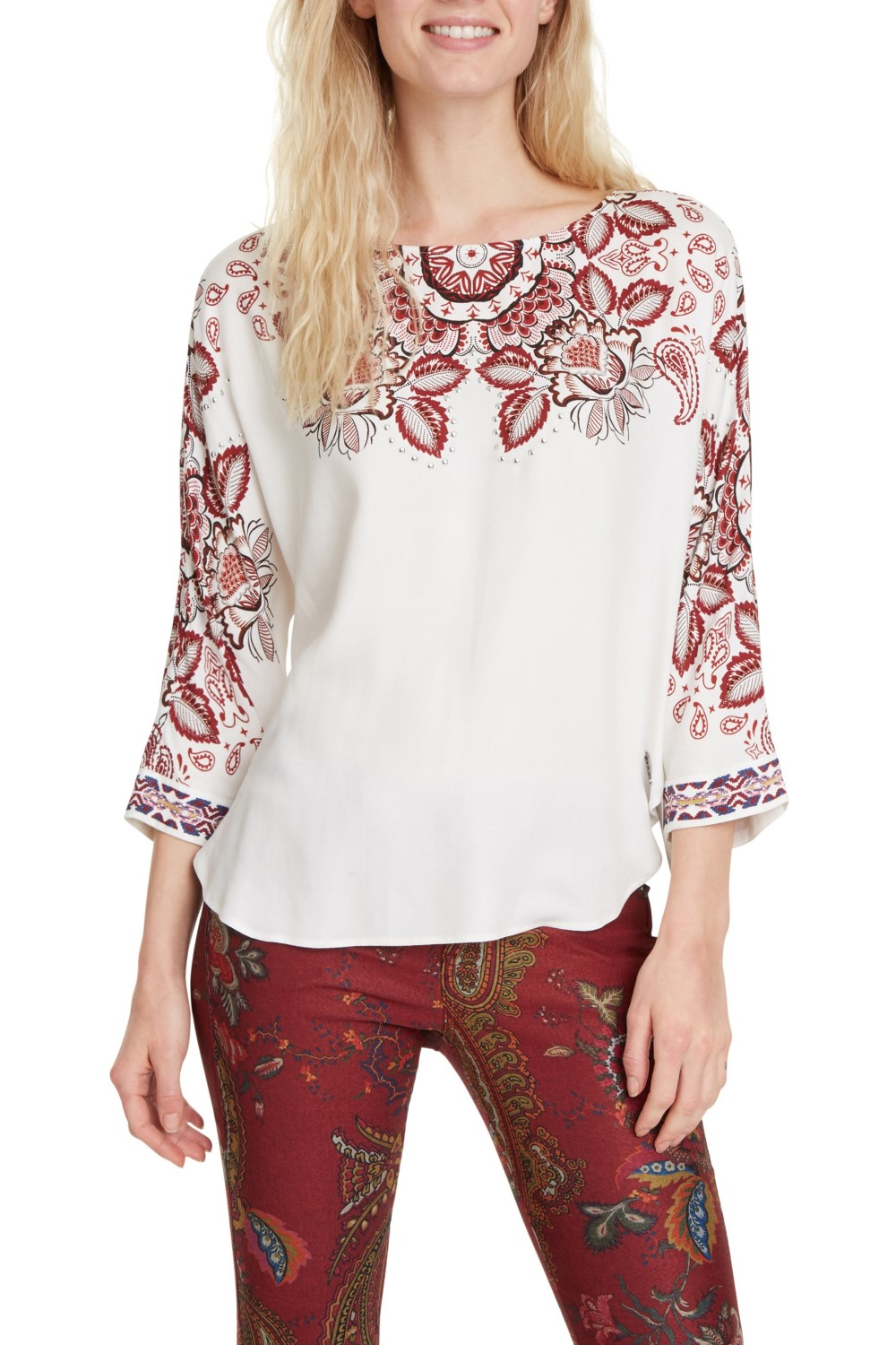 Desigual white top Blus Lumbe with colorful motifs