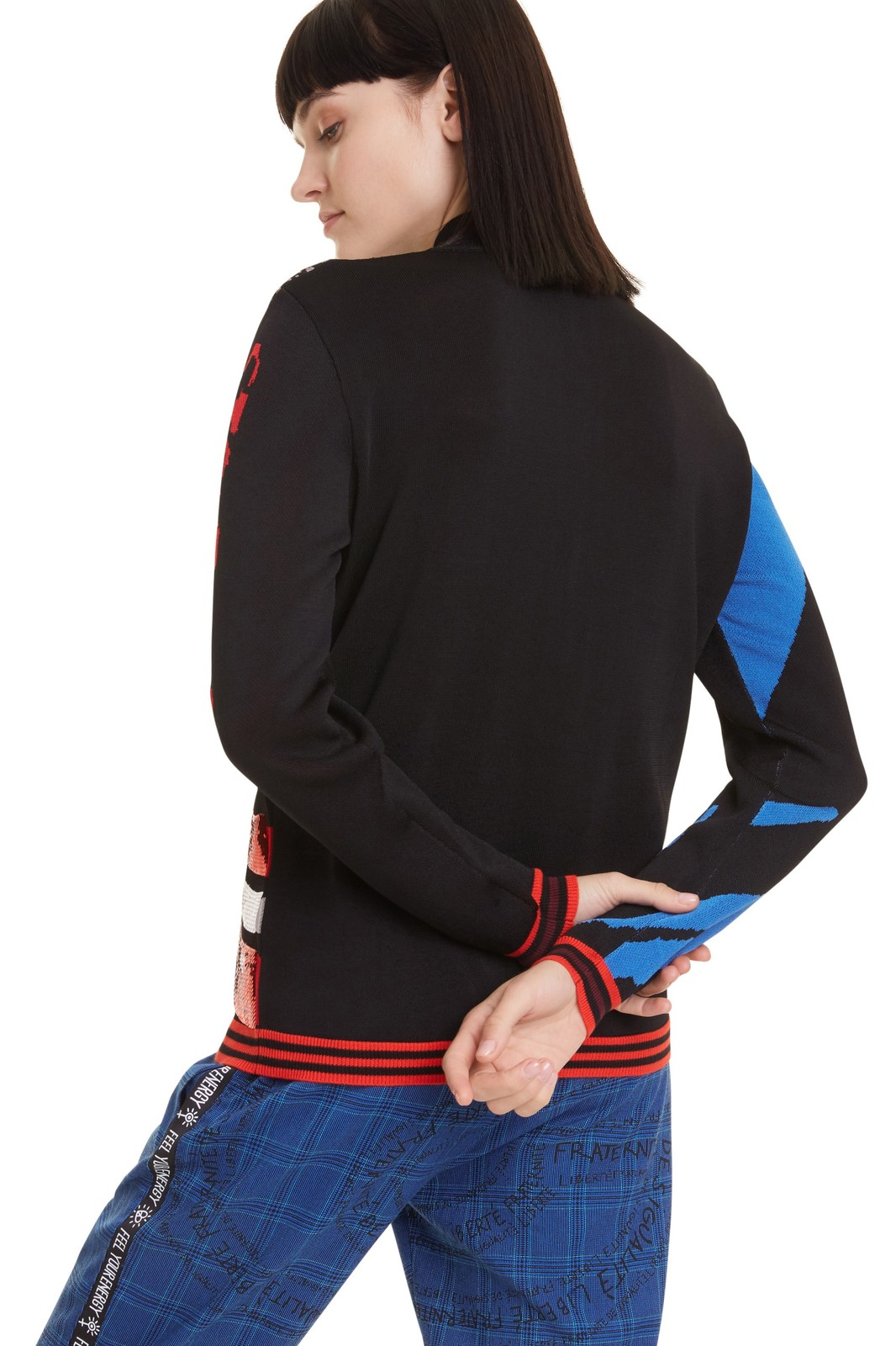 Desigual black sweater Jers NY with colorful motifs