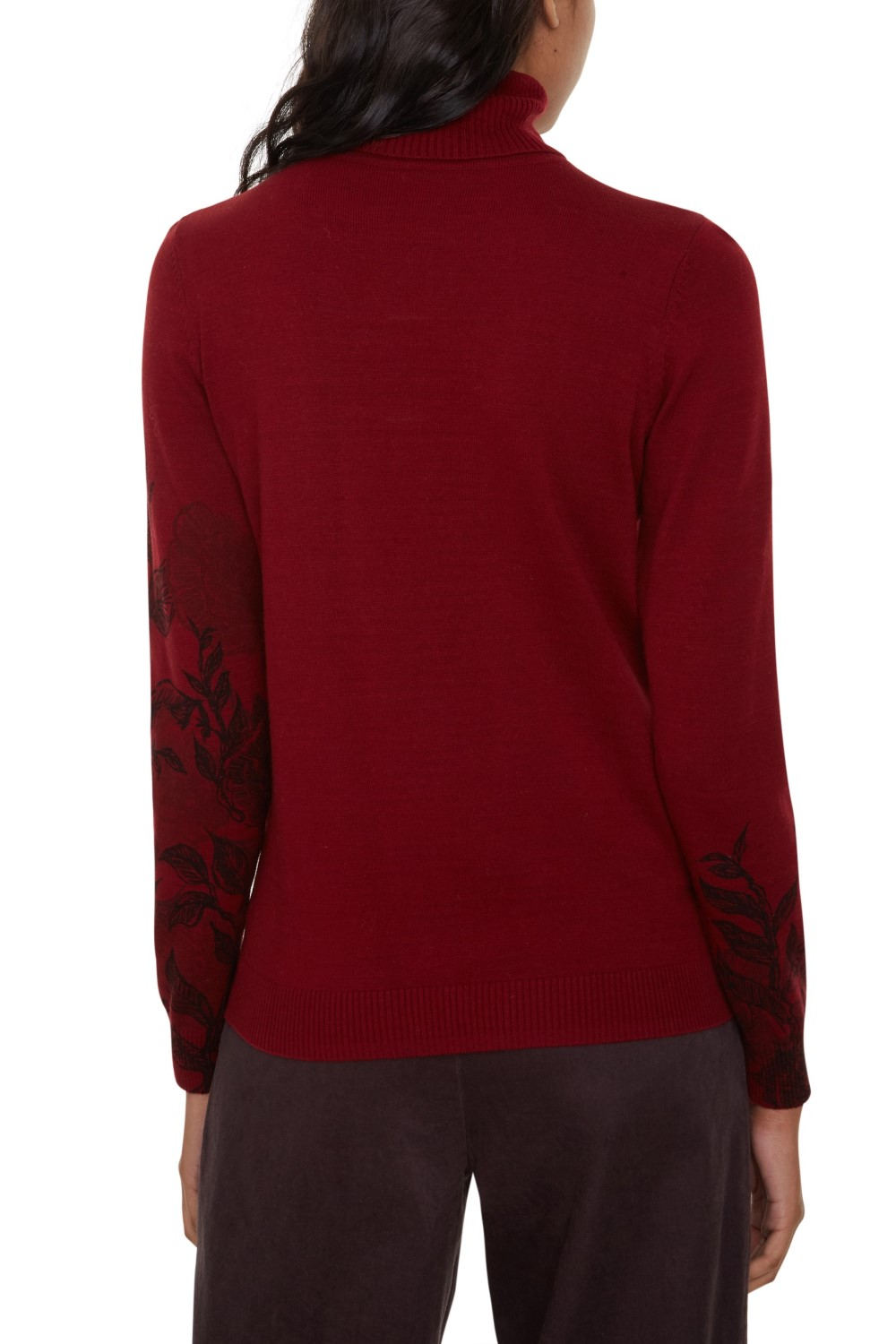 Wine-Coloured Desigual Polo Neck Sweater Jers Garden