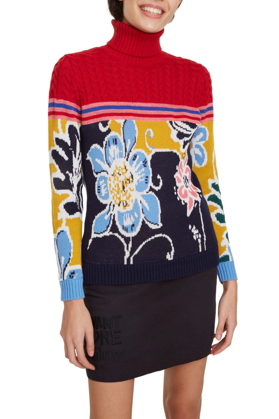 Desigual Colourful Polo Neck Sweater Jers Flowers