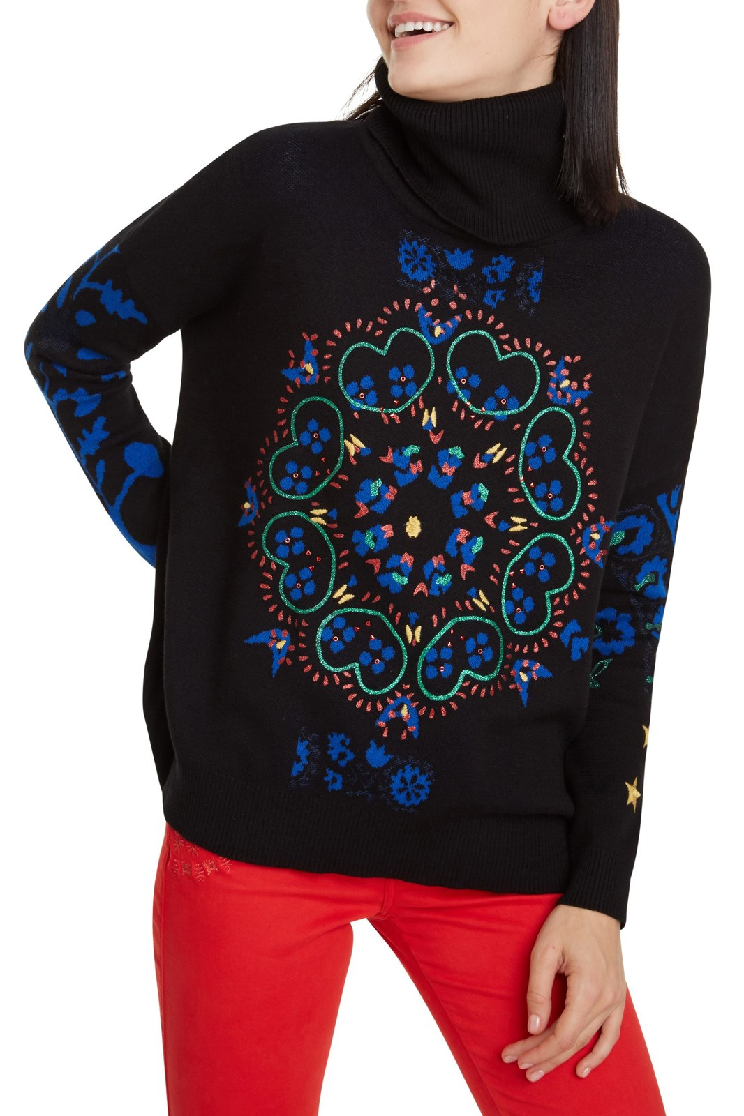 Desigual Black Polo Neck Jers Barrie with Colourful Motives
