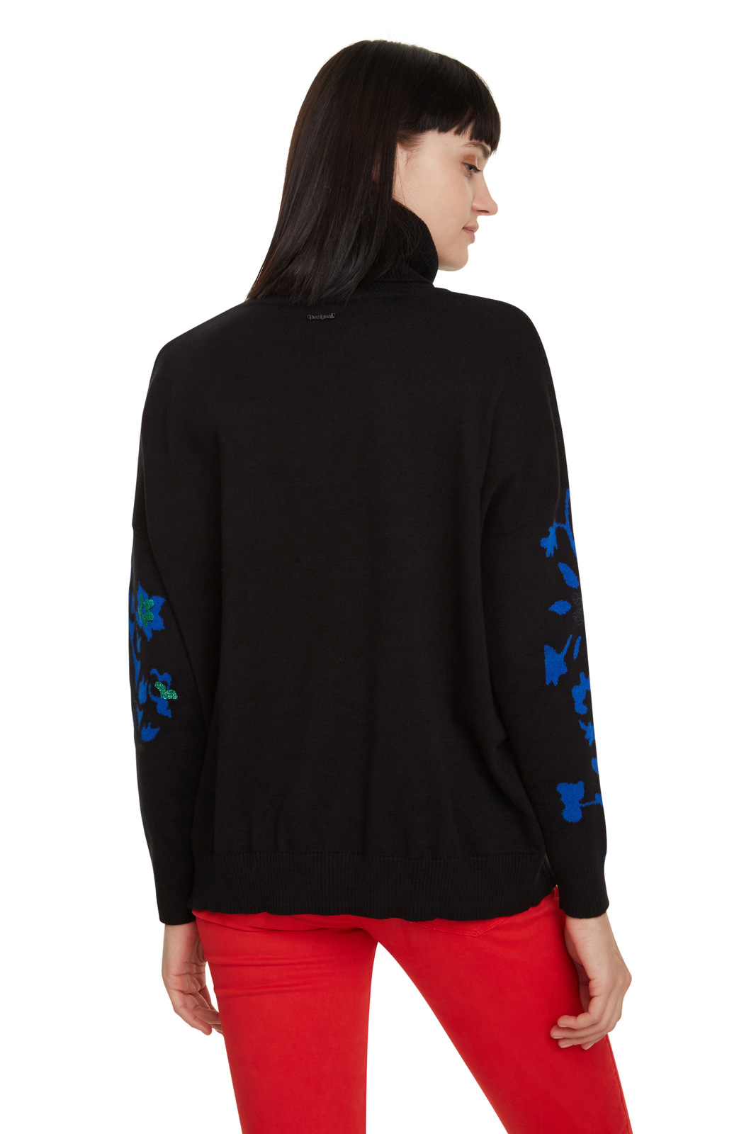 Desigual black turtleneck Jers Barrie with colorful motifs