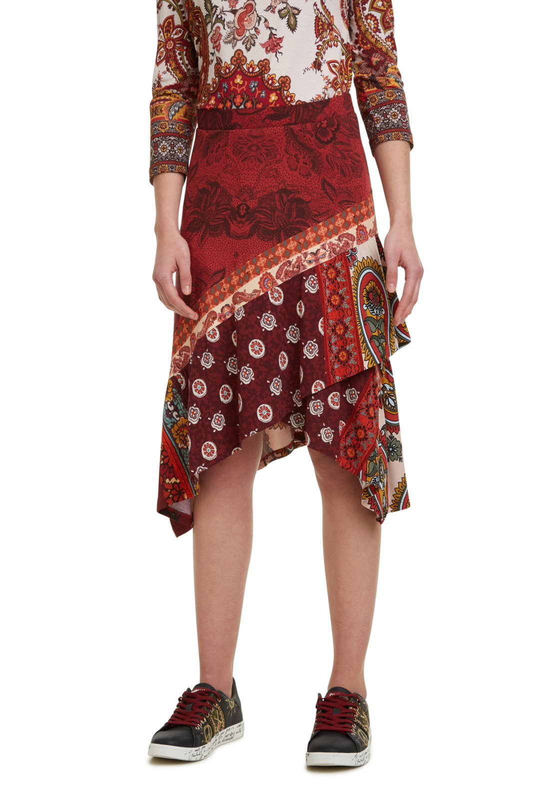 Desigual red skirt Fal Indira with colorful motifs