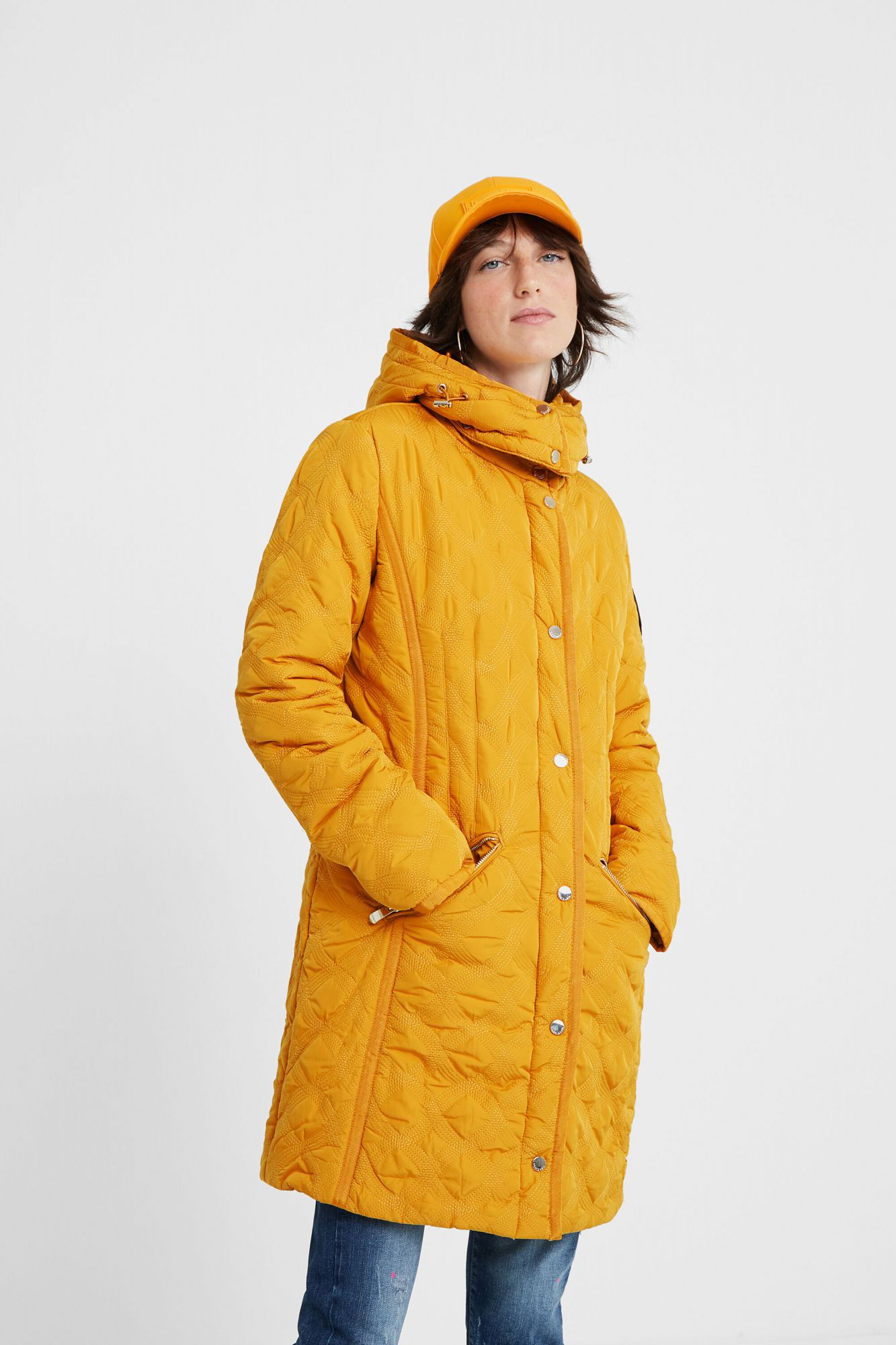 Desigual mustard coat Padded Leicester