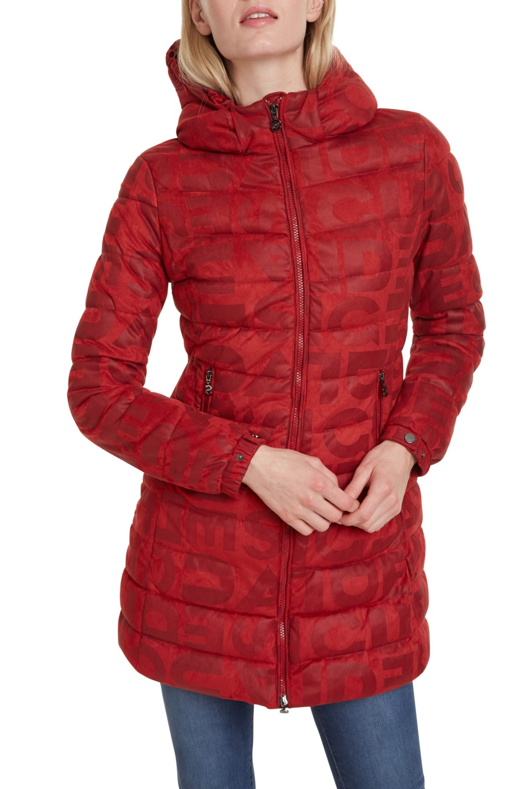 Desigual Red Coat Padded Letras