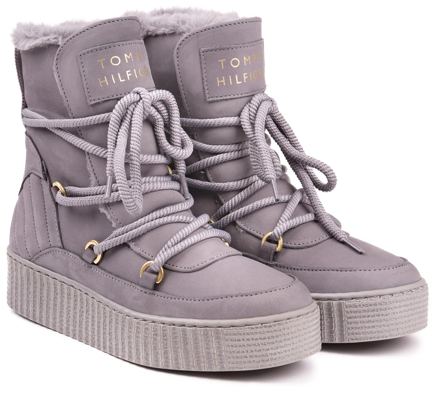 Tommy Hilfiger Grey Leather Ankle High Shoes Cosy Bootie