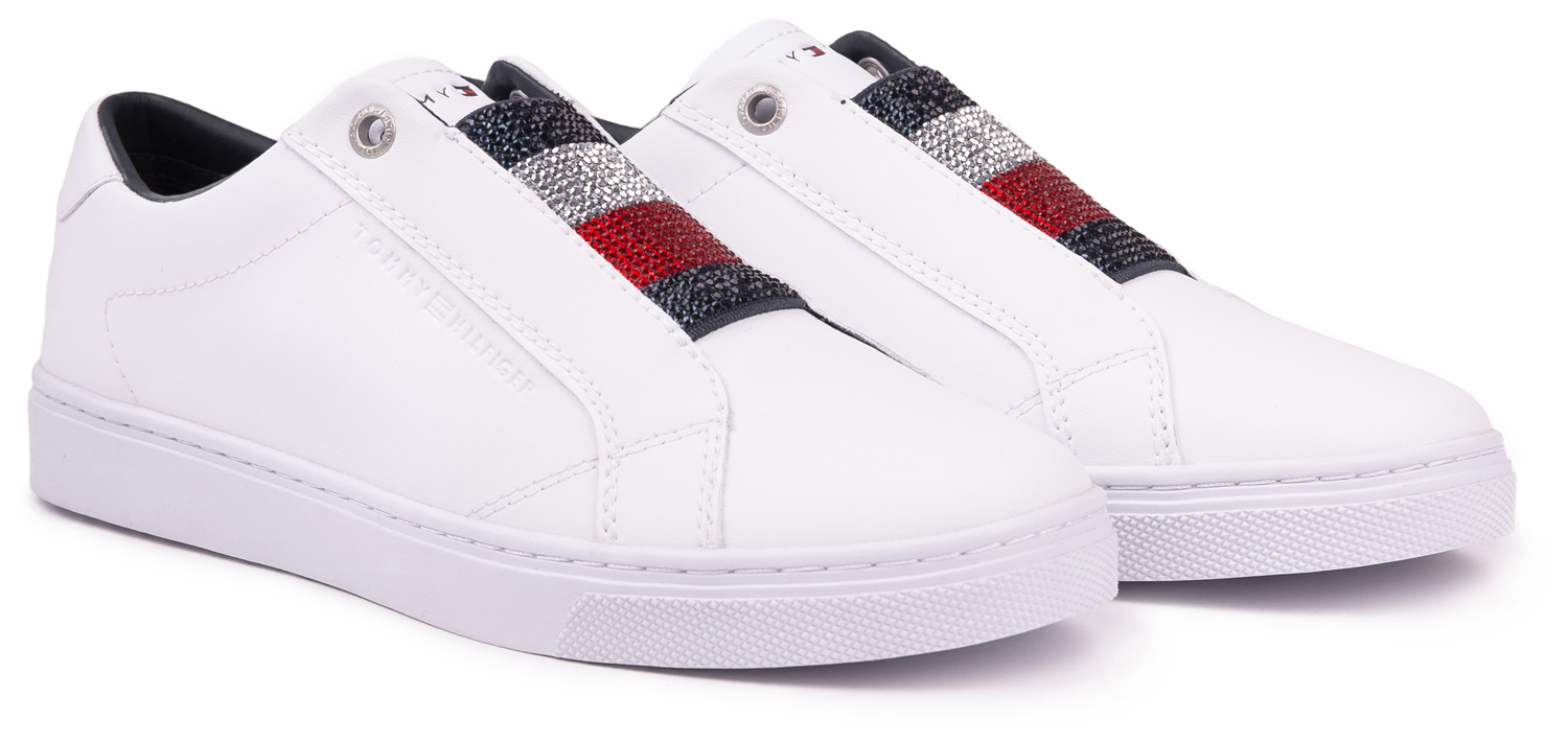 Tommy Hilfiger white leather sneakers Crystal Leather Slip On Sneaker White