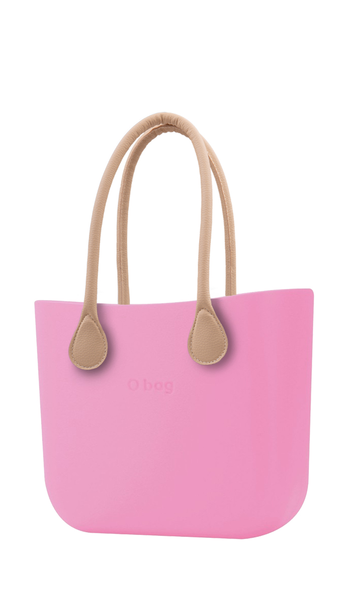 O bag pink handbag Pink with long leatherette straps natural