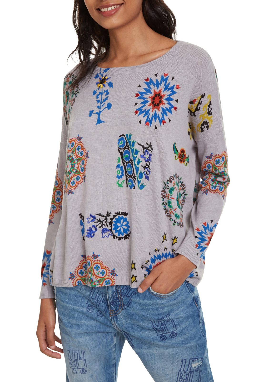 Desigual grey sweater Jers Upper with colourful motives