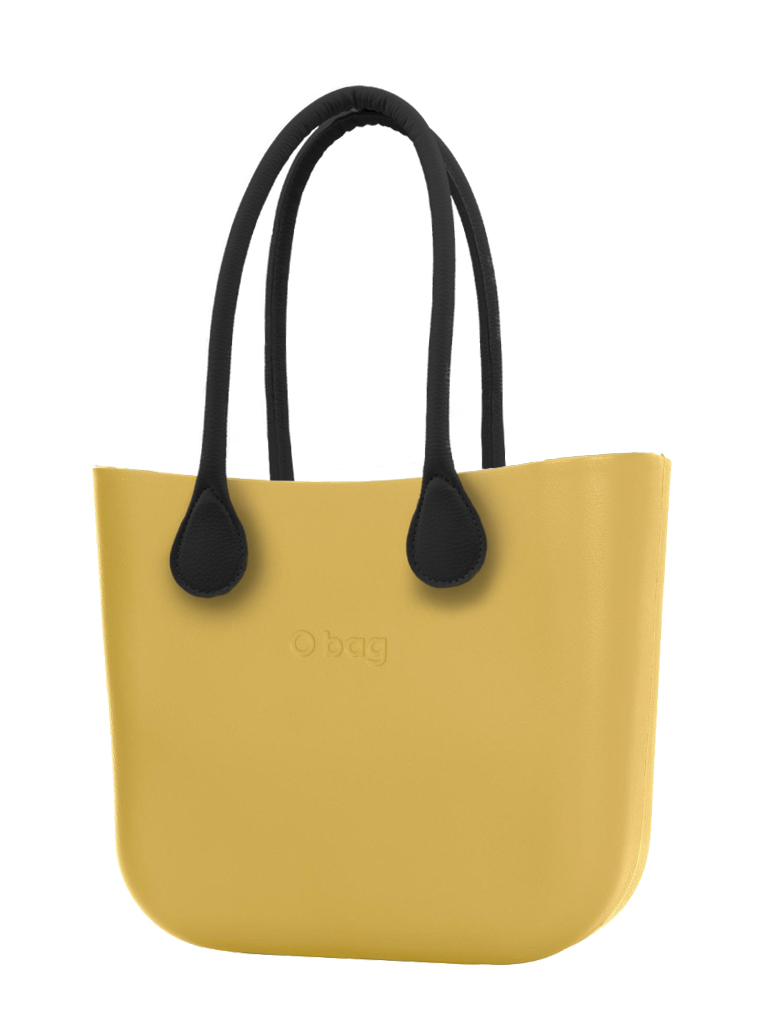 O bag yellow handbag Curry with long black leatherette straps