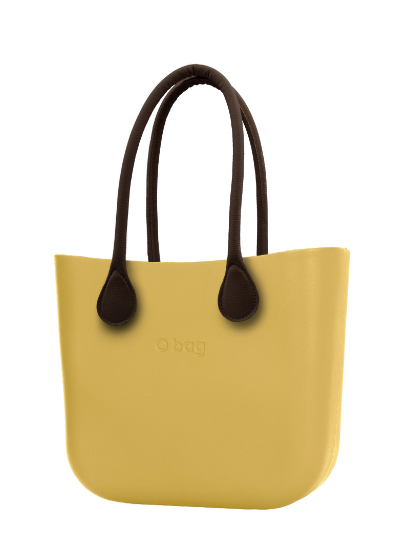 O bag yellow handbag Curry with long brown leatherette straps