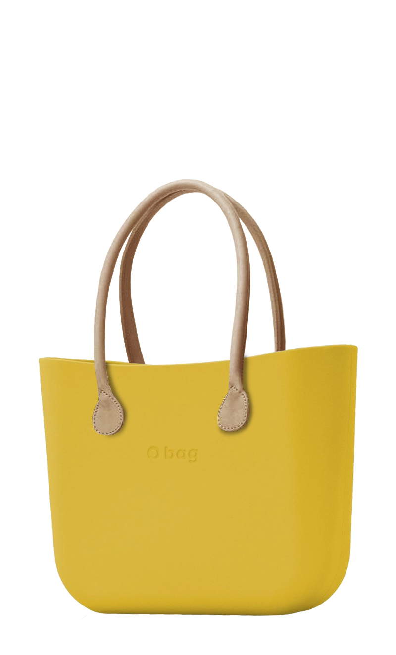 O bag mustard handbag Ginestra with long leatherette straps natural