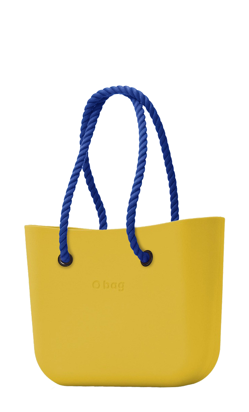 O bag mustard handbag Ginestra with long dark blue strings