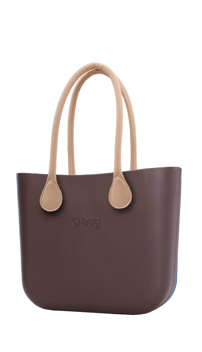 O bag brown handbag Chocolate with long leatherette straps natural