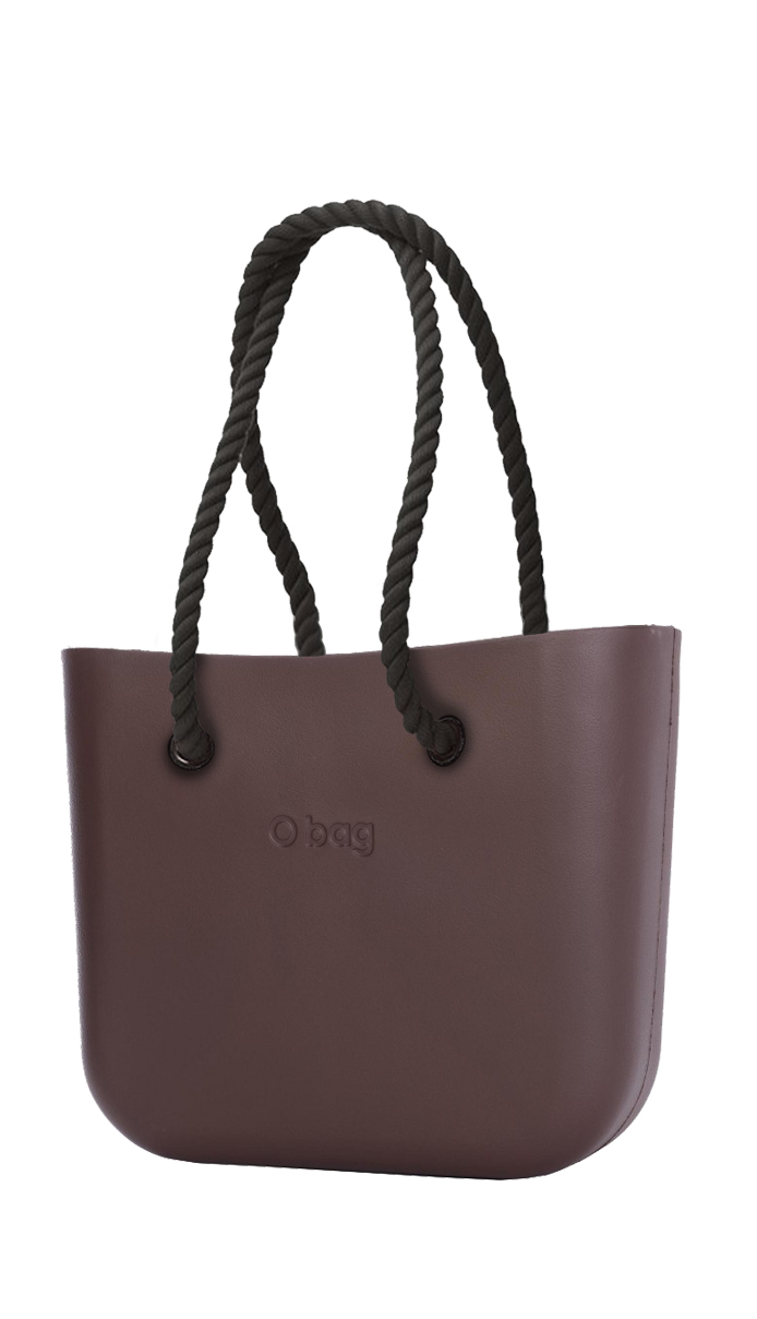 O bag brown handbag Chocolate with long black strings