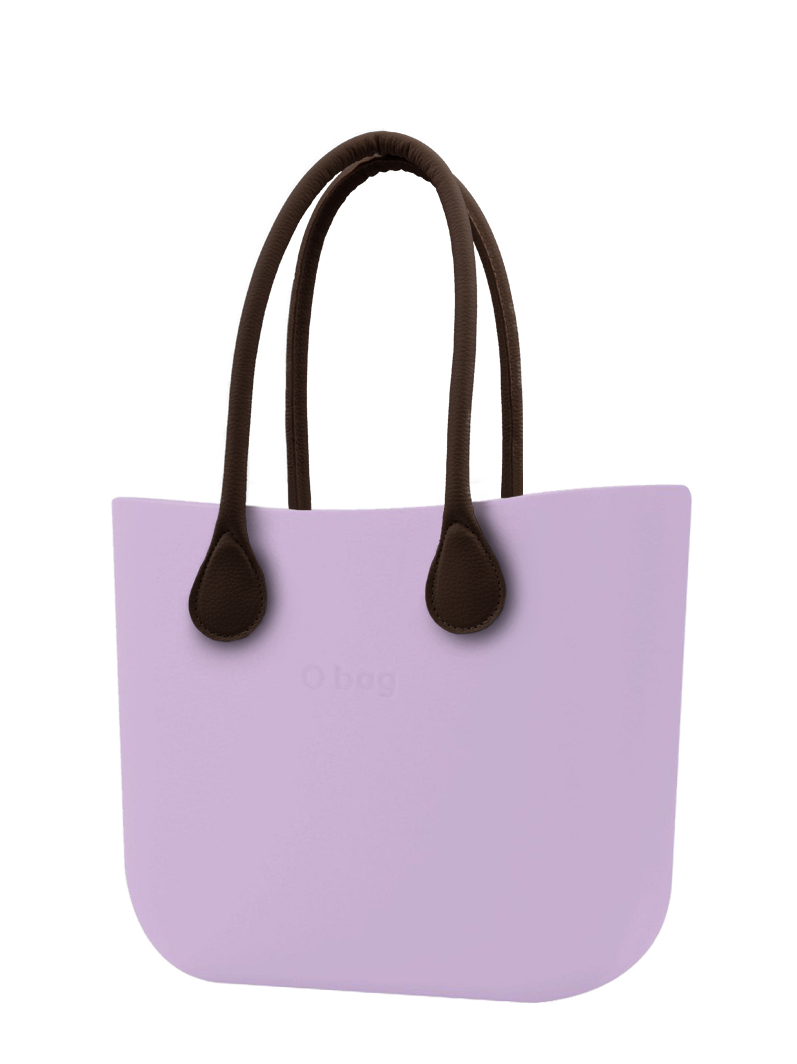 O bag purple handbag Orchidea with long brown leatherette straps