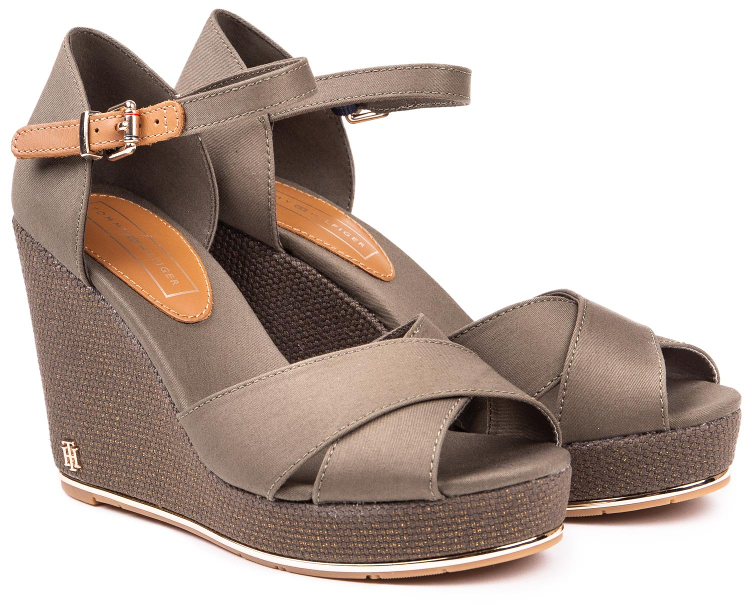 Tommy Hilfiger green shoes on a wedge Feminine Wedge Sandal Baci Dusty Olive