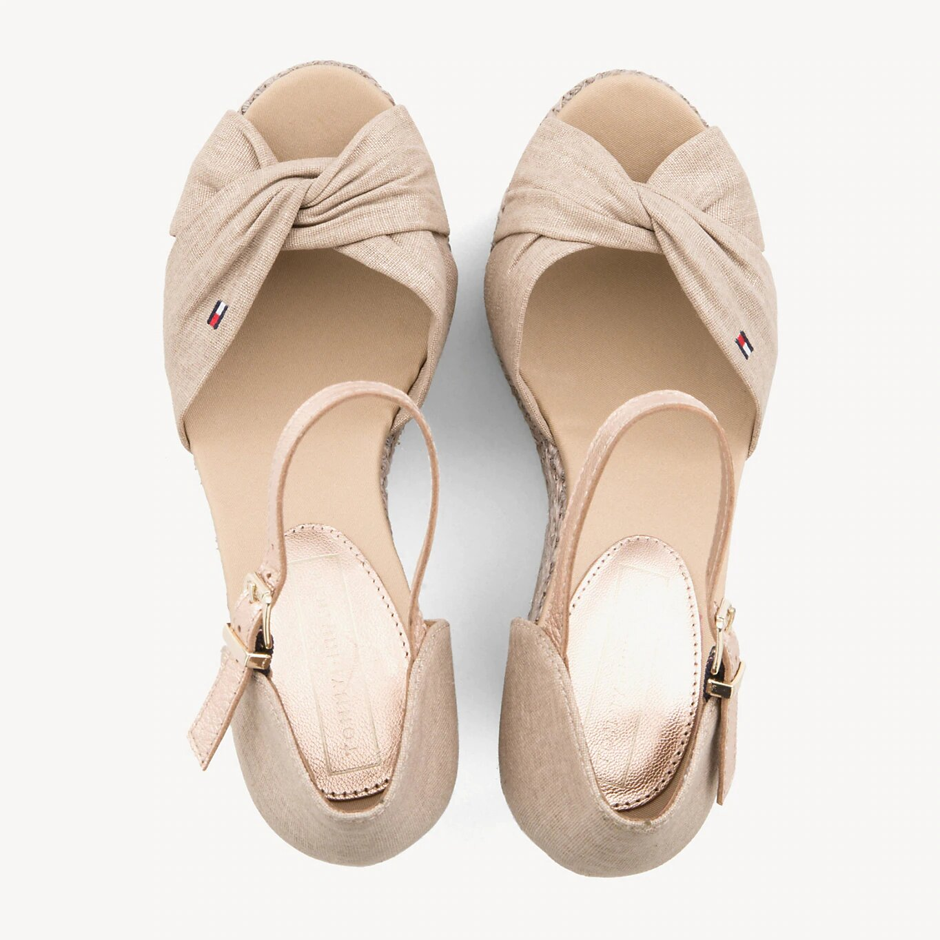 Tommy Hilfiger beige shoes on a wedge Iconic Elena Metallic Canvas