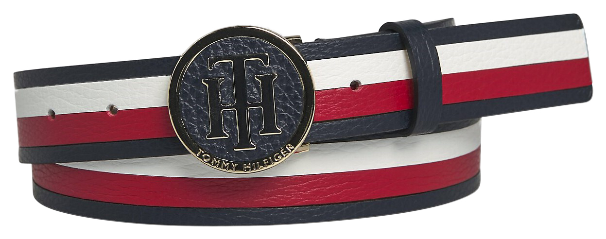 Tommy Hilfiger multicolor leather belt TH Round Buckle Belt 3.0 Corporate
