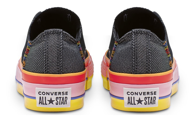Converse black sneakers with platform Chuck Taylor All Star Lift Ox Black/White/Coastal Pink
