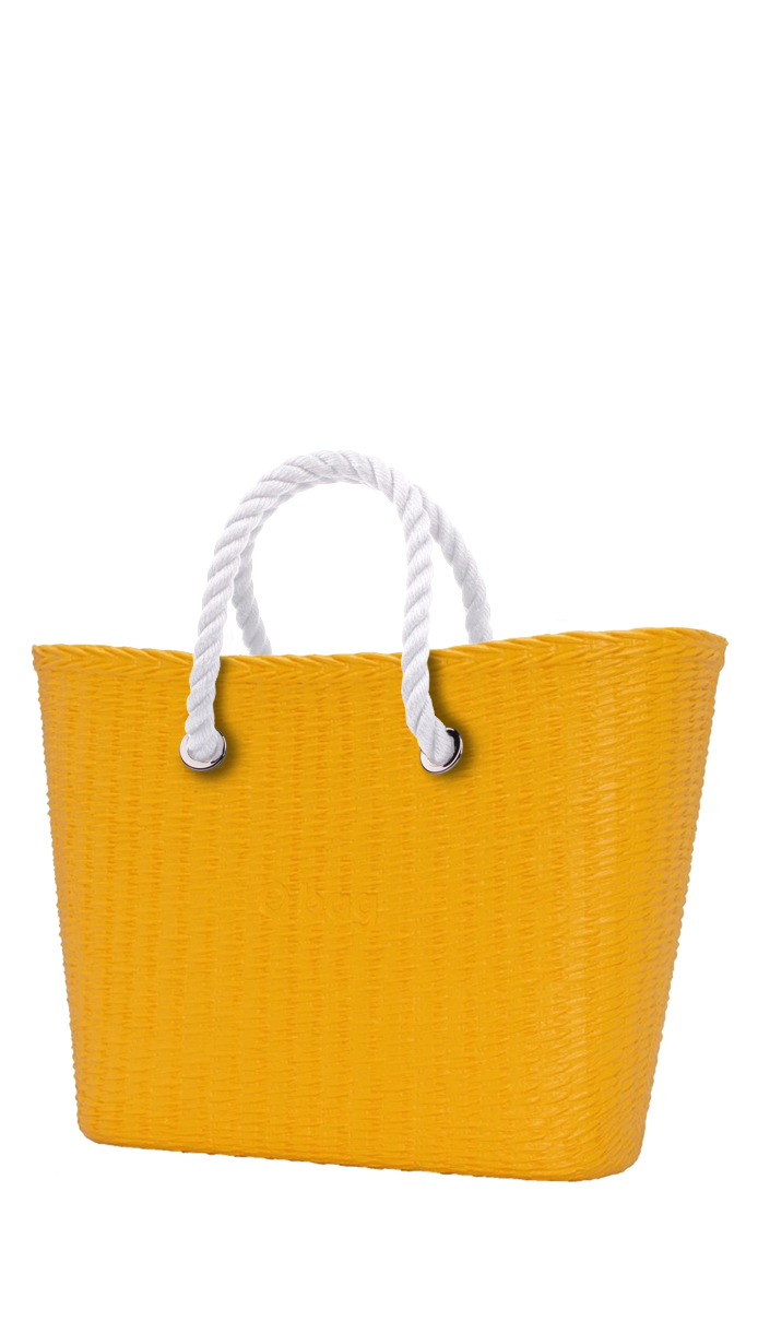 O bag  yellow handbag URBAN MINI Cedro with short white strings