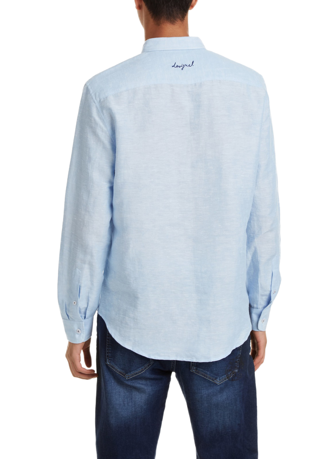 Desigual Blue Linen Shirt Man Template 1 color