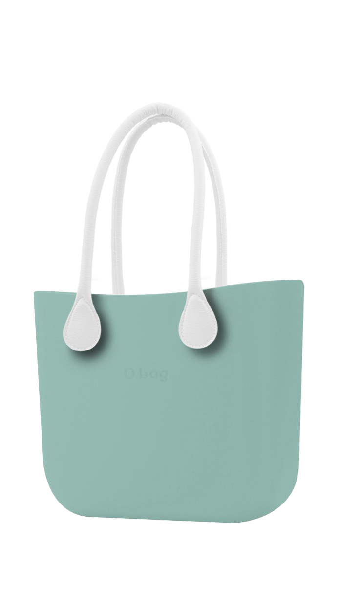 O bag  turquoise handbag Turchese with long white leatherette straps
