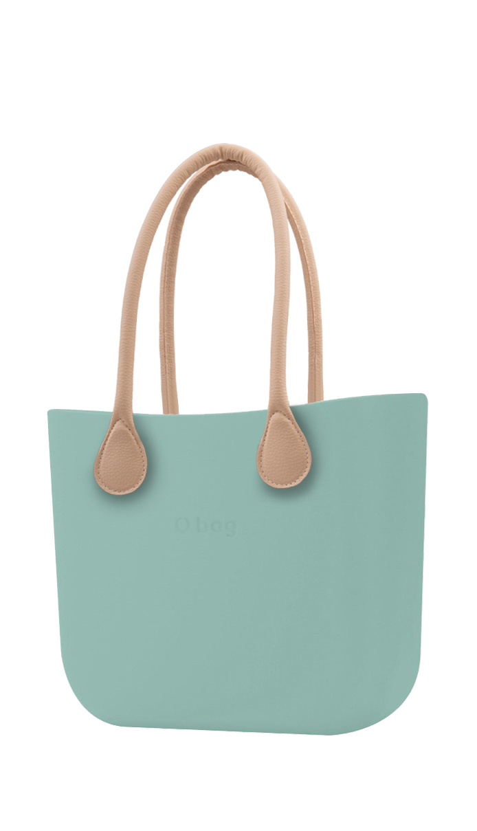 O bag  turquoise handbag Turchese with long leatherette straps natural