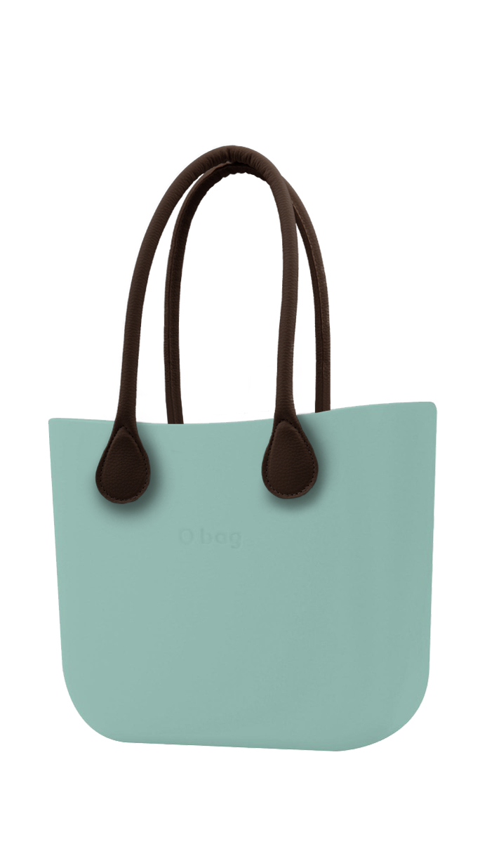 O bag  turquoise handbag Turchese with long brown leatherette straps