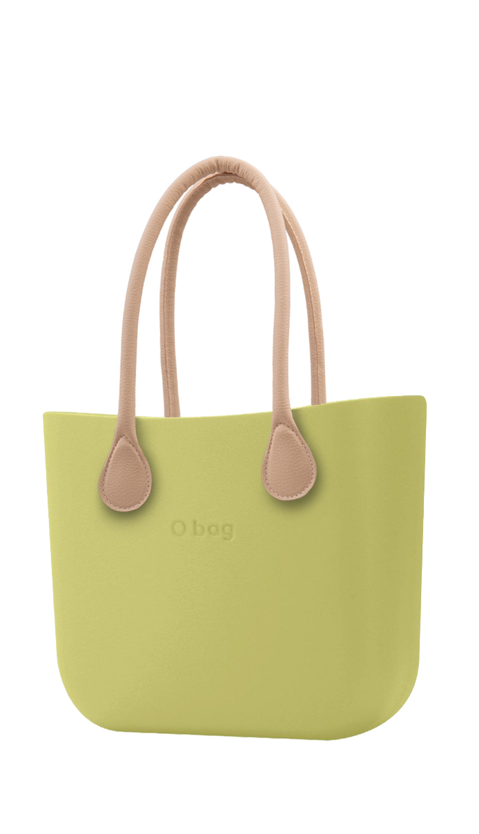 O bag  green handbag Celery Green with long leatherette straps natural