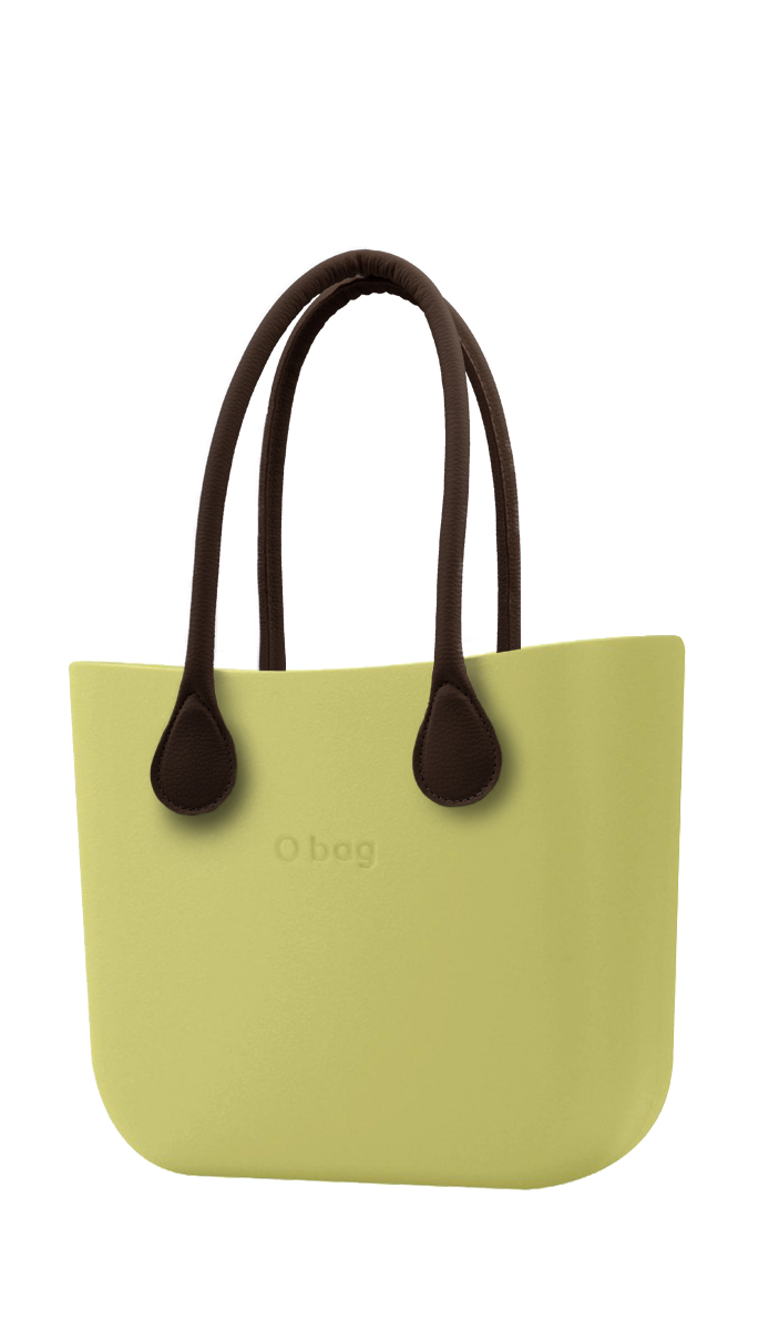 O bag  green handbag Celery Green with long brown leatherette straps