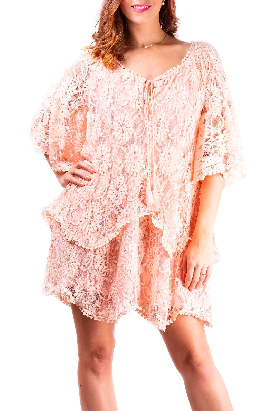 Simpo Powder Pink Women's Lace Dress Lace Up