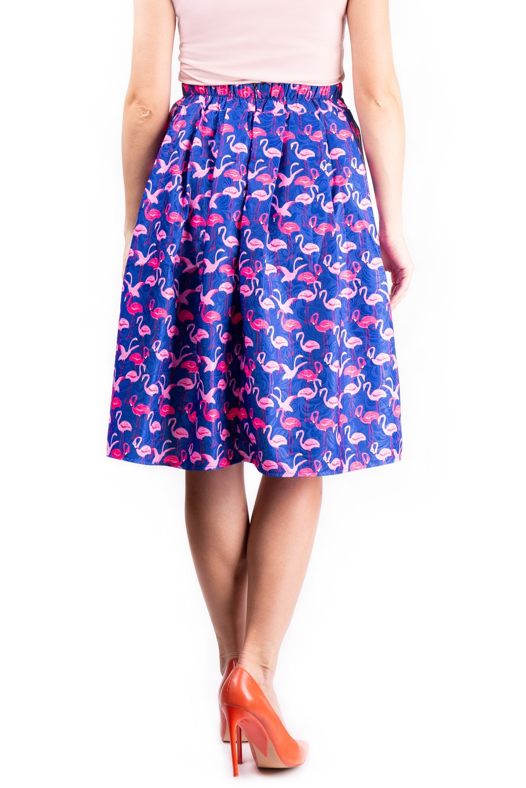 Simpo multicolor knee lenght skirt Blue Flamingo