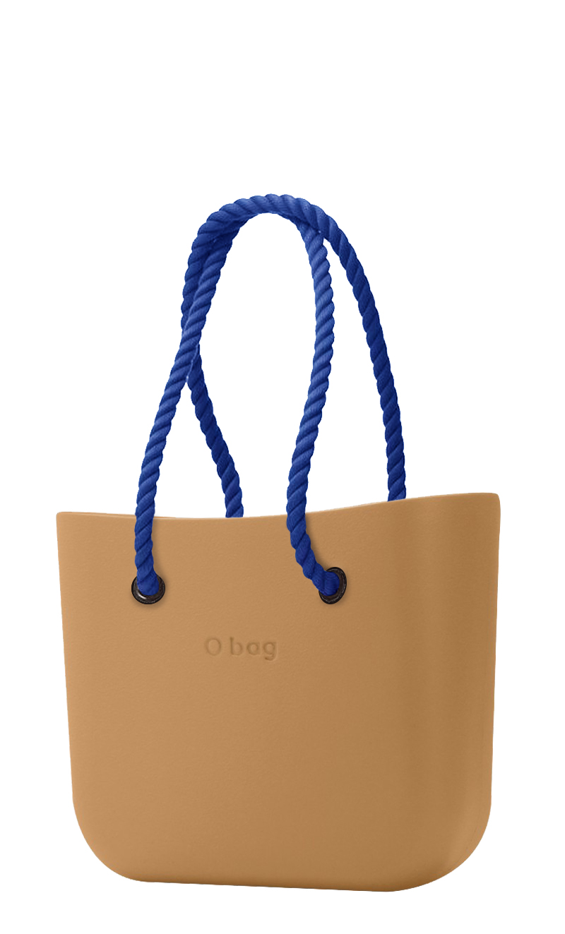 O bag  caramel handbag Biscotto with long dark blue strings