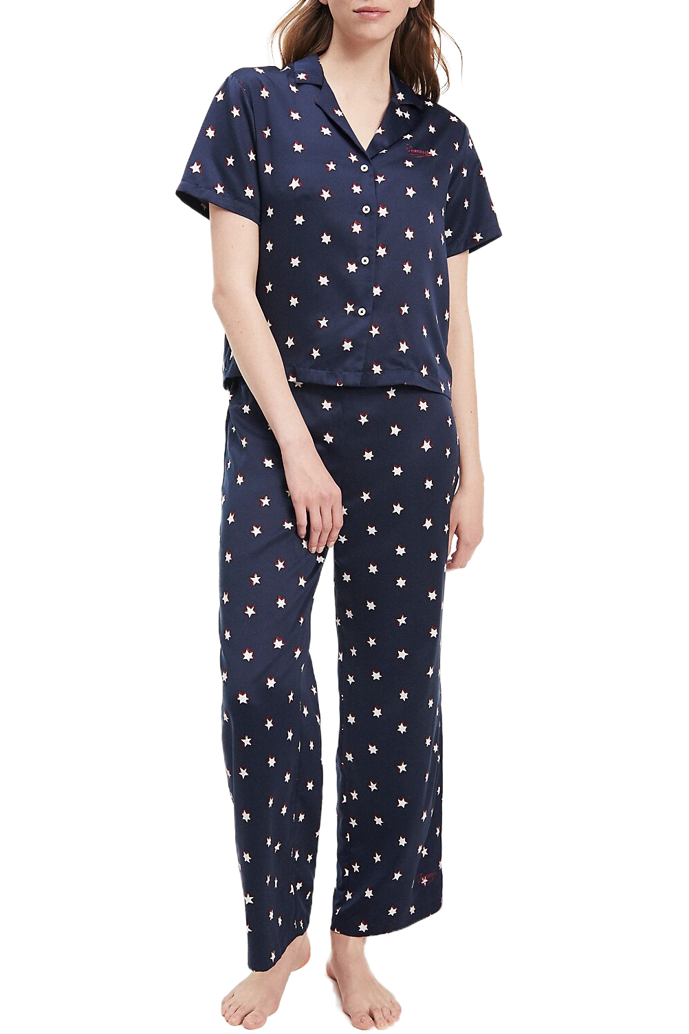 Tommy Hilfiger Dark Blue Pajamas Woven Set S/S Print with Stars